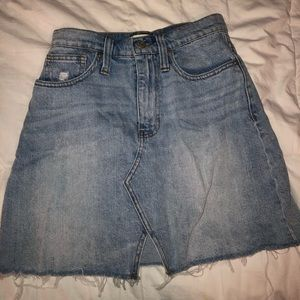 Madewell light wash denim skirt